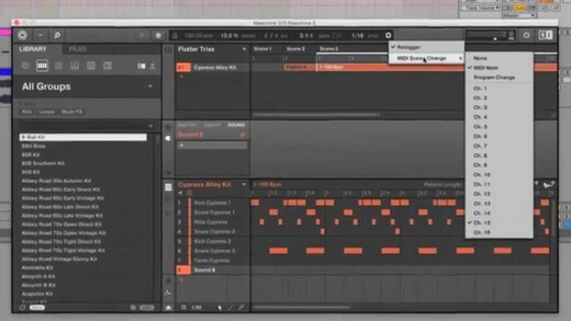 Triggering MASCHINE 2 Scenes with MIDI Notes in Ableton Live