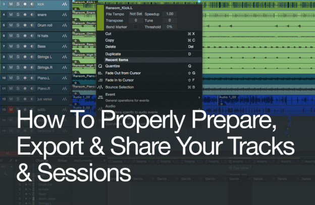prepare export share track